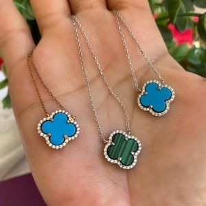 Jewelry - Sterling Silver Turquoise Flower Necklace